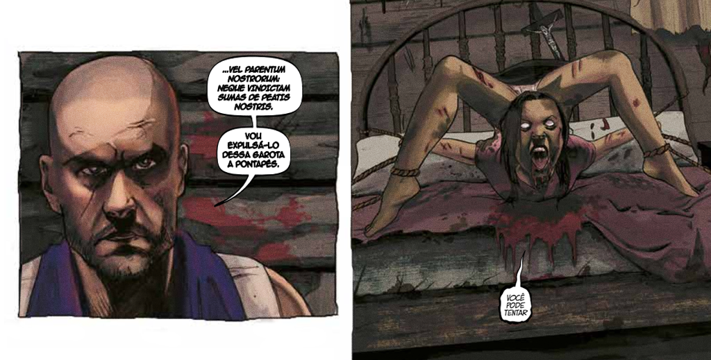 Imagens da HQ Exorcismo: O Ritual Romano.