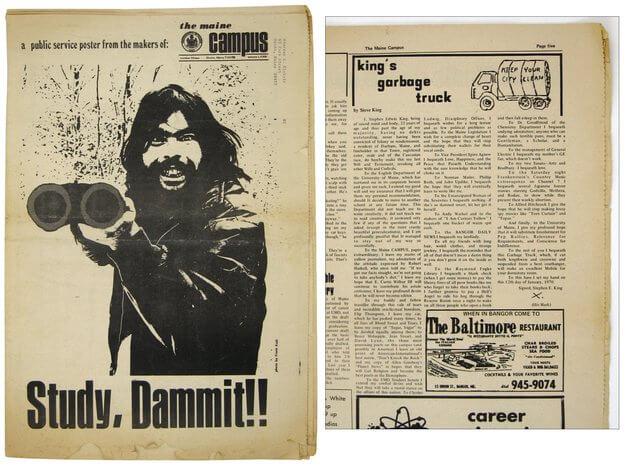 Jornal antigo onde King publicava seus contos